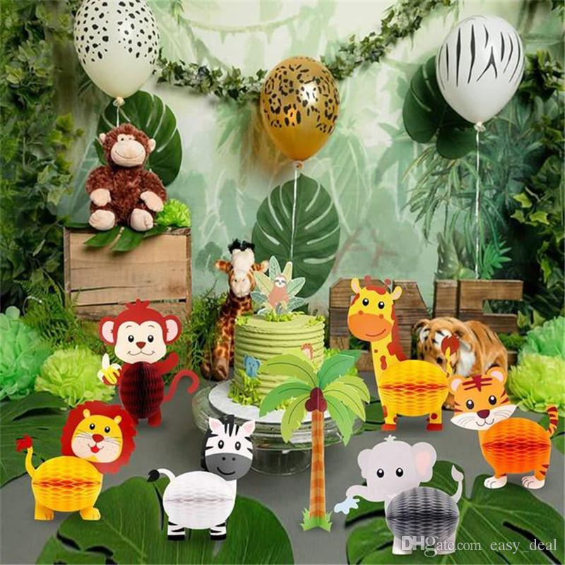 Jungle Safari Party Animals Honeycomb Paper Lanter Animal Birthday Party Backdrop Kids Birthday Forest Party Decor yq01466