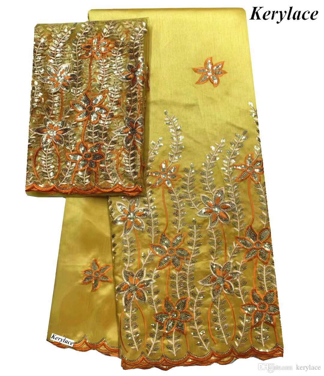 Multi Color Africano George Lace Tecido Com Lantejoula Lace nigeriano Wrapper alta qualidade Africano George tecido para o vestido KRL-92174