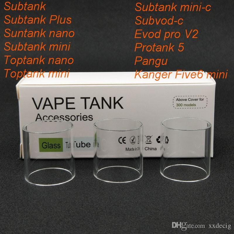 30pcs Original Replacement Pyrex Glass Tube for Kanger Subtank/Subtank plus/Subtank mini/Subtank nano/Toptank mini/Kanger five6 mini Tank