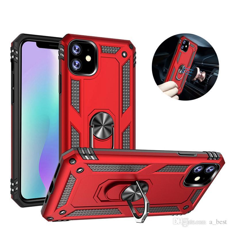حلقة حامل القضية للحصول على هاتف اي فون 11Pro ماكس XS XR X 8 زائد سامسونج Note10 S10 المغناطيسي Standable PC درع الصلب الغلاف الخلفي