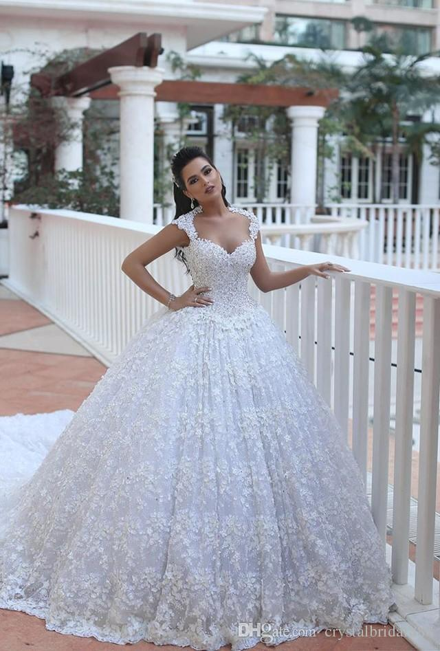 New Luxury Arabic Bling Ball Gown Wedding Dresses Sweetheart Full Lace Beaded Sexy Sheer Back Court Train Plus Size Formal Bridal Gowns