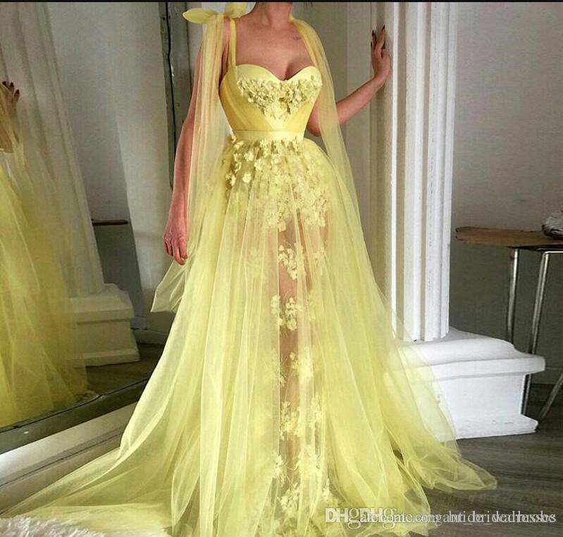 Vestidos de noche musulmanes amarillos 2019 una línea de flores cariño tul encaje largo islámico Dubai Dubai árabe largo formal vestido de fiesta