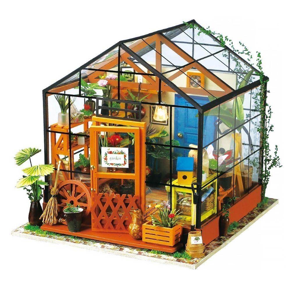مرح عيد robotime مصغرة بيت الدمية diy الأخضر حديقة مع الأثاث الأطفال الكبار نموذج بناء أطقم دمية