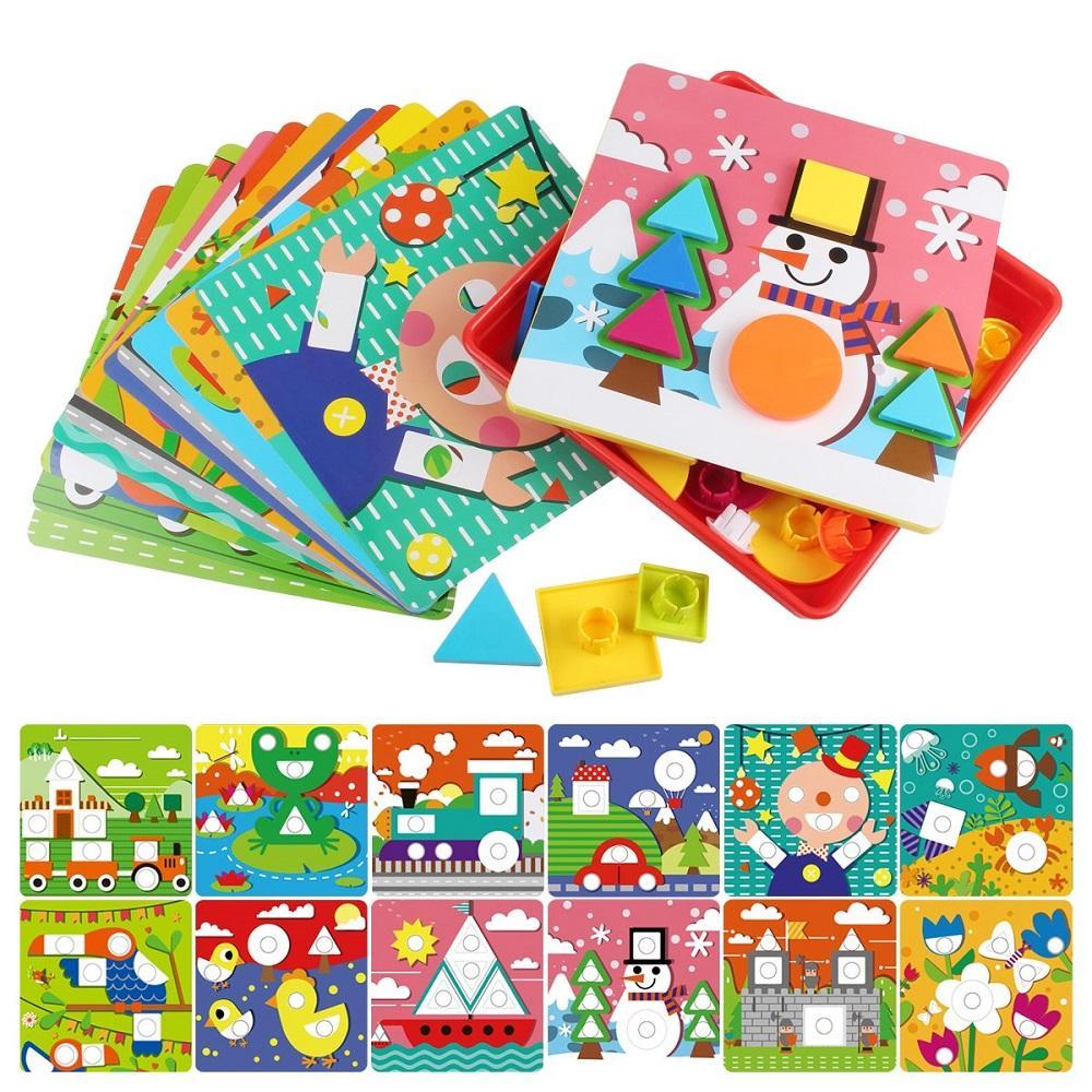 Criativo Enigma de madeira brinquedos para crianças Geometria colorida Cogumelos forma de correspondência Nails Botão do bebê pré-escolar Educational presente Aprendizagem