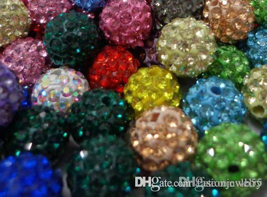 e634 150 pz / lotto 10mm colore misto bianco Micro Pavimenta CZ Disco Di Cristallo di cristallo Bead Braccialetto Collana Perline. Perline Calde Lotto! Strass w62
