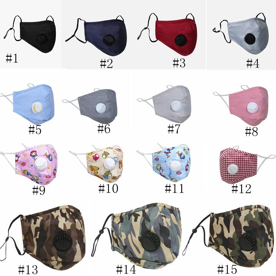 15style Respirar válvula máscara máscaras Unisex Rosto Algodão Anti Poeira PM2.5 Boca máscara reutilizável Válvula máscara máscaras lavável protecção GGA3520-1