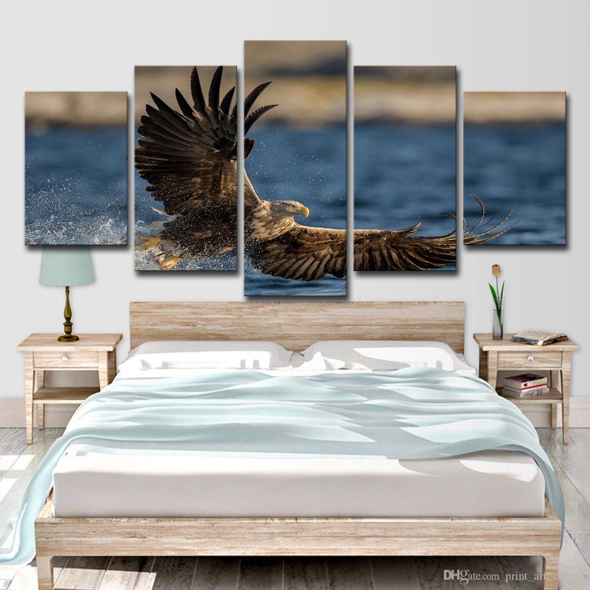 5 unids HD impreso mar águila pintura sobre lienzo decoración de la habitación impresión del cartel foto lienzo envío gratis