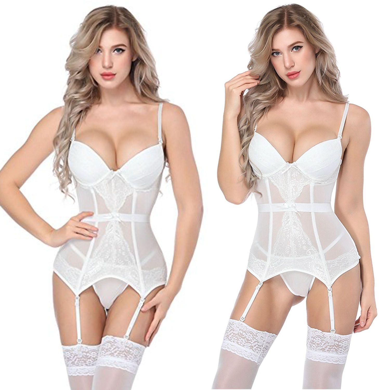 conjunto de lingerie sexy sexy ver através de lingerie espartilho branco
