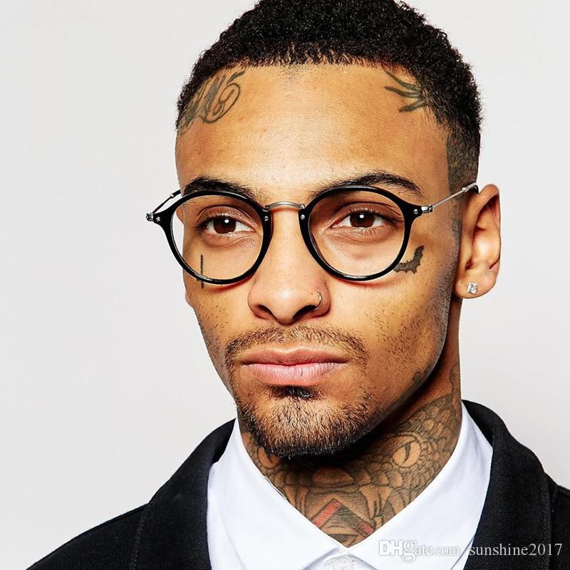 Erkekler Kadınlar Miyop Nerd Optik Gözlük Çerçevesi Lüks Saydam Lens Erkek Gözlük Yuvarlak Şeffaf Gözlük Gözlük Çerçevesi