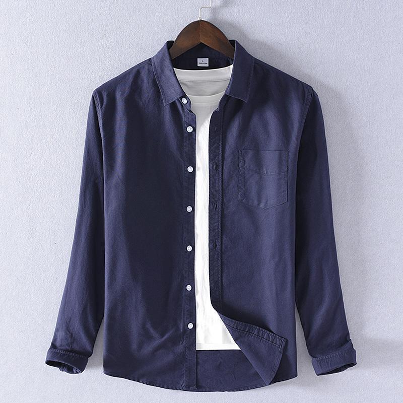 100% хлопок рубашки оксфорд Италия бренд рубашки мужчин весной моды для мужчин твердый вскользь рубашки мужские Рубашки мужские комфортабельные мужской сорочкой