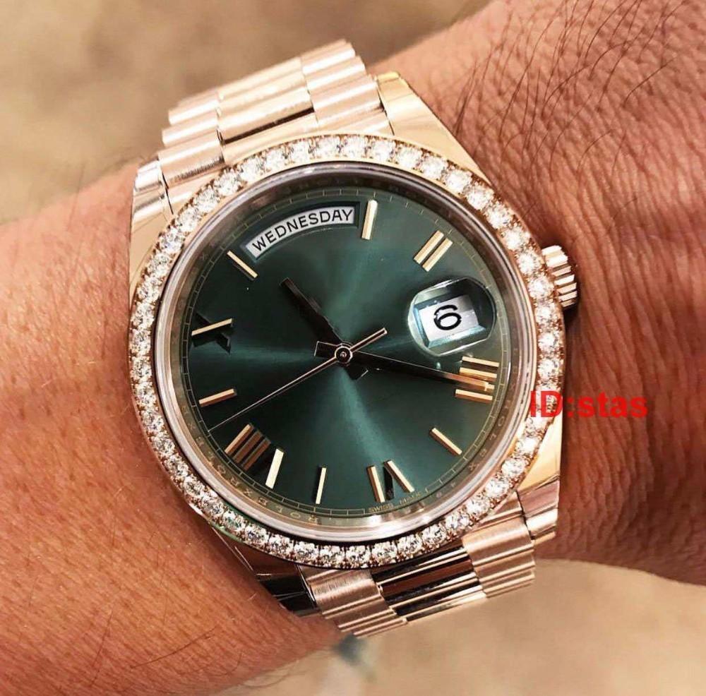 Vente chaude en acier inoxydable New Diamonds Hommes Hommes Luxe Genève Bracelet 2183 Automatique Qualité mode Montre Reloj Montres-bracelets