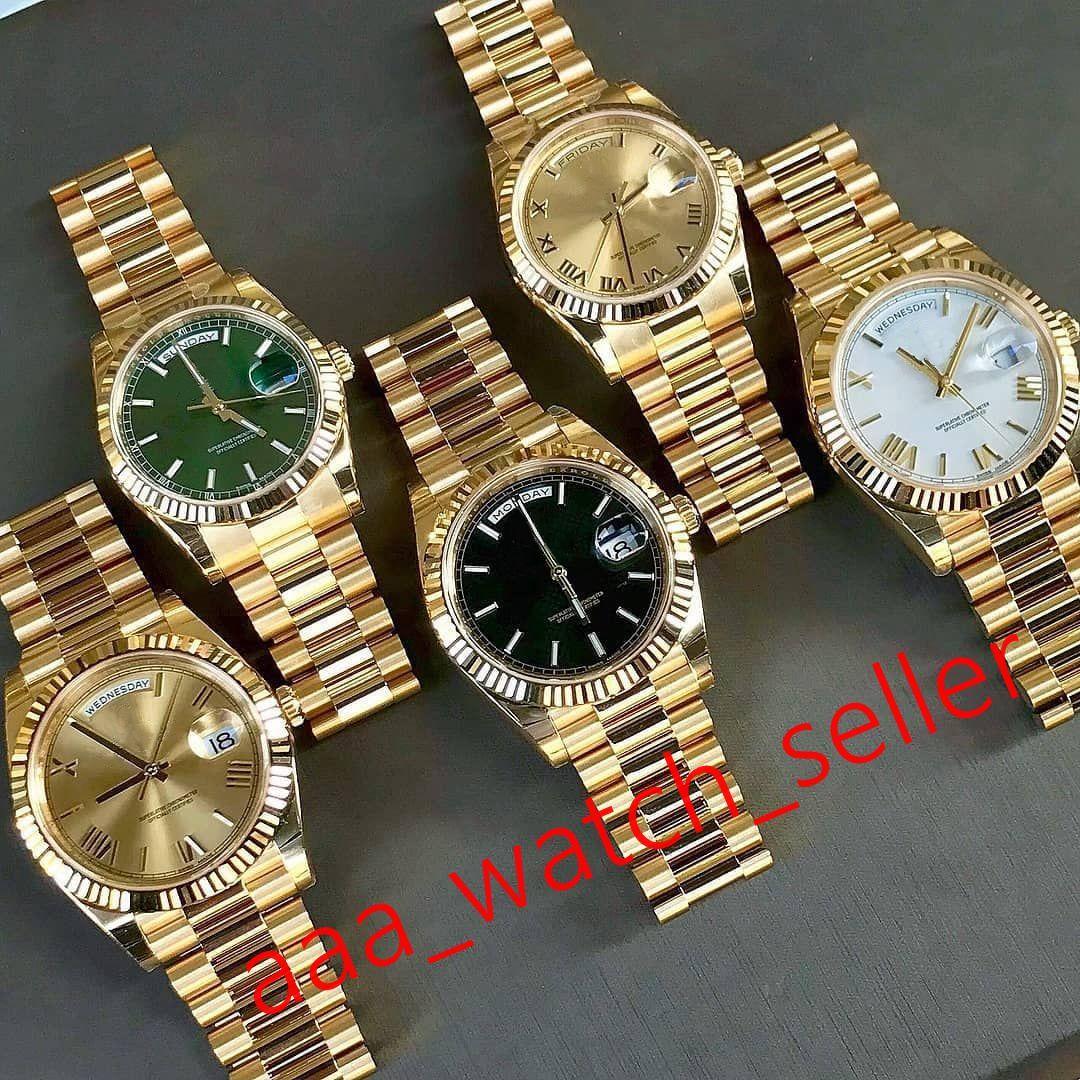 17 Arten Master Luxury Herrenuhren 40mm Tag Datum 228238 228235 Gelbgold Präsident Armband Rinder Lünette Mechanische Automatische Armbanduhr