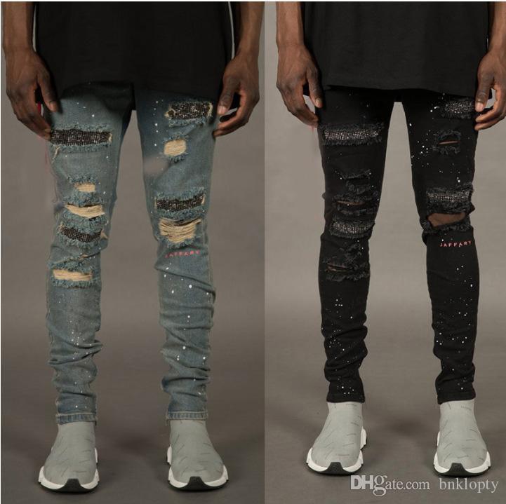 Compre Jeans De Moda De Otono Para Hombres Con Agujeros Rotos Designer Cremalleras Jeans Skateboard Lapiz Biker Denim Pantalones De Mezclilla A 16 68 Del Bnklopty Dhgate Com