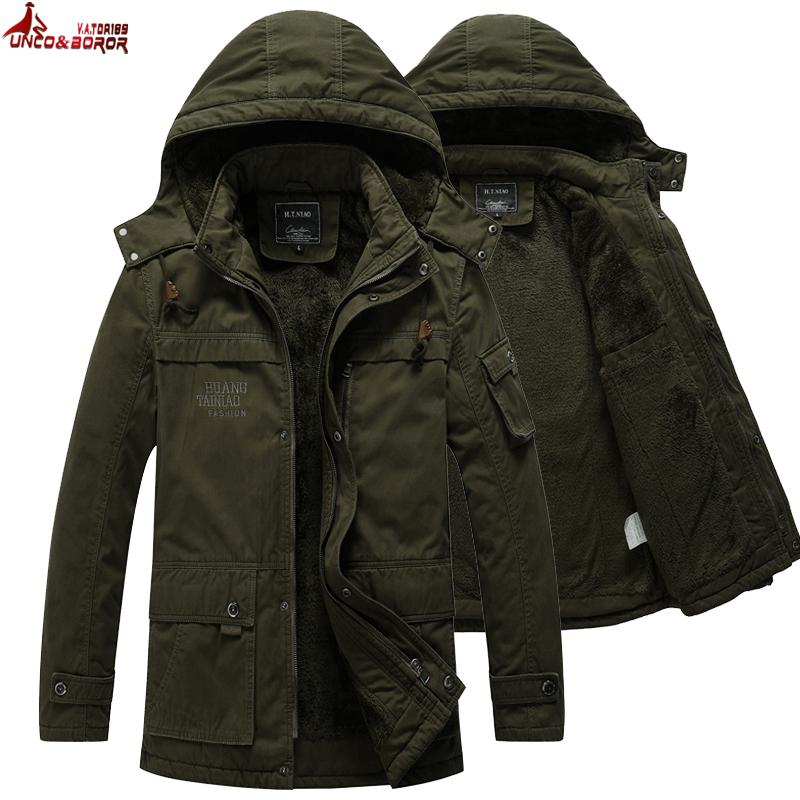 Mens Pilot Jacket Casual Thicken Multi-Pocket Cargo Outwear Winter ...
