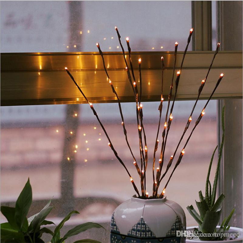 Quente Branco 20 LEDs Levou Luz Da Árvore Alimentado Por Bateria Natal Fada Corda Flexível Decoração Do Casamento Lâmpada De Mesa Interior Luminarias Luz Da Noite