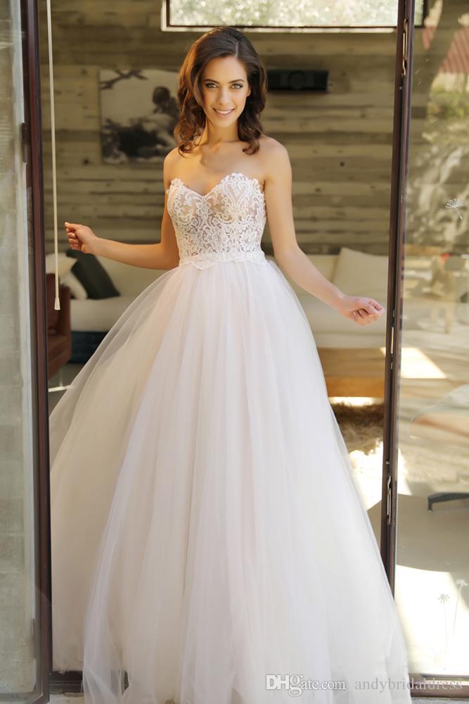 Plus Size Lace Strapless Bridal Gown White Ivory Beach Wedding Dress Size 4 6 8+