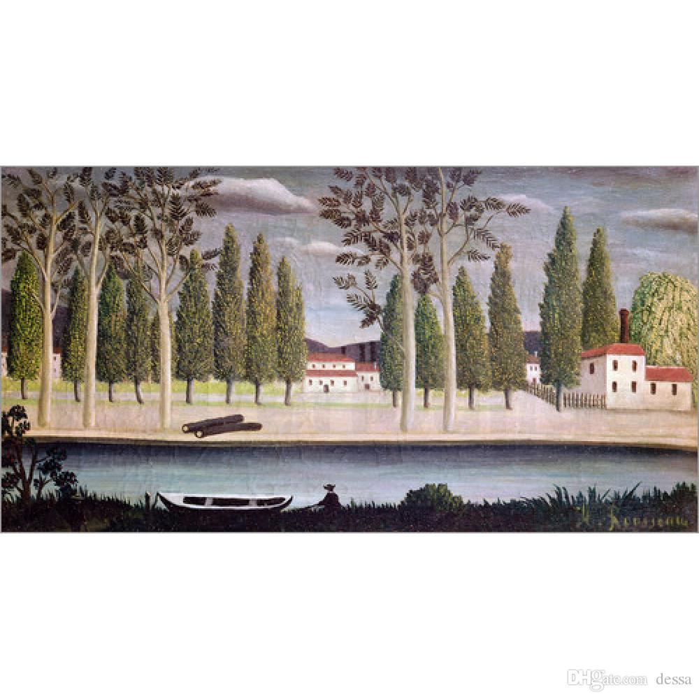Modern oil paintings Landscapes art By the River, c. Henri Rousseau animal picture Handmade wall decor