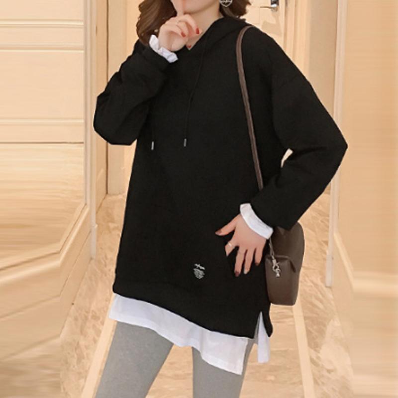 Mujeres en monopatín sudaderas con capucha del resorte del otoño Deporte señora de la manera coreana falso de dos piezas con capucha Robe Femme