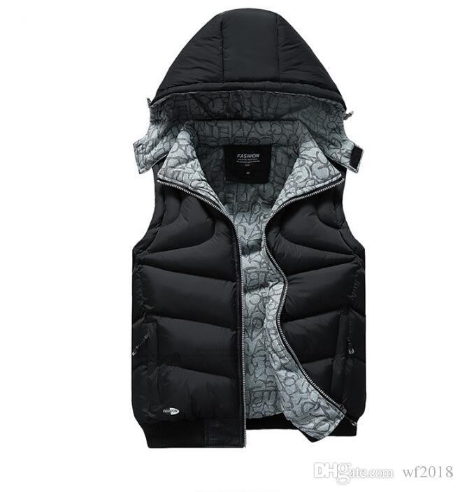 Новый 2020 Мужские жилеты Зима Осень вниз безрукавки Сплошной цвет конструктора с капюшоном Верхняя одежда Vest воротник
