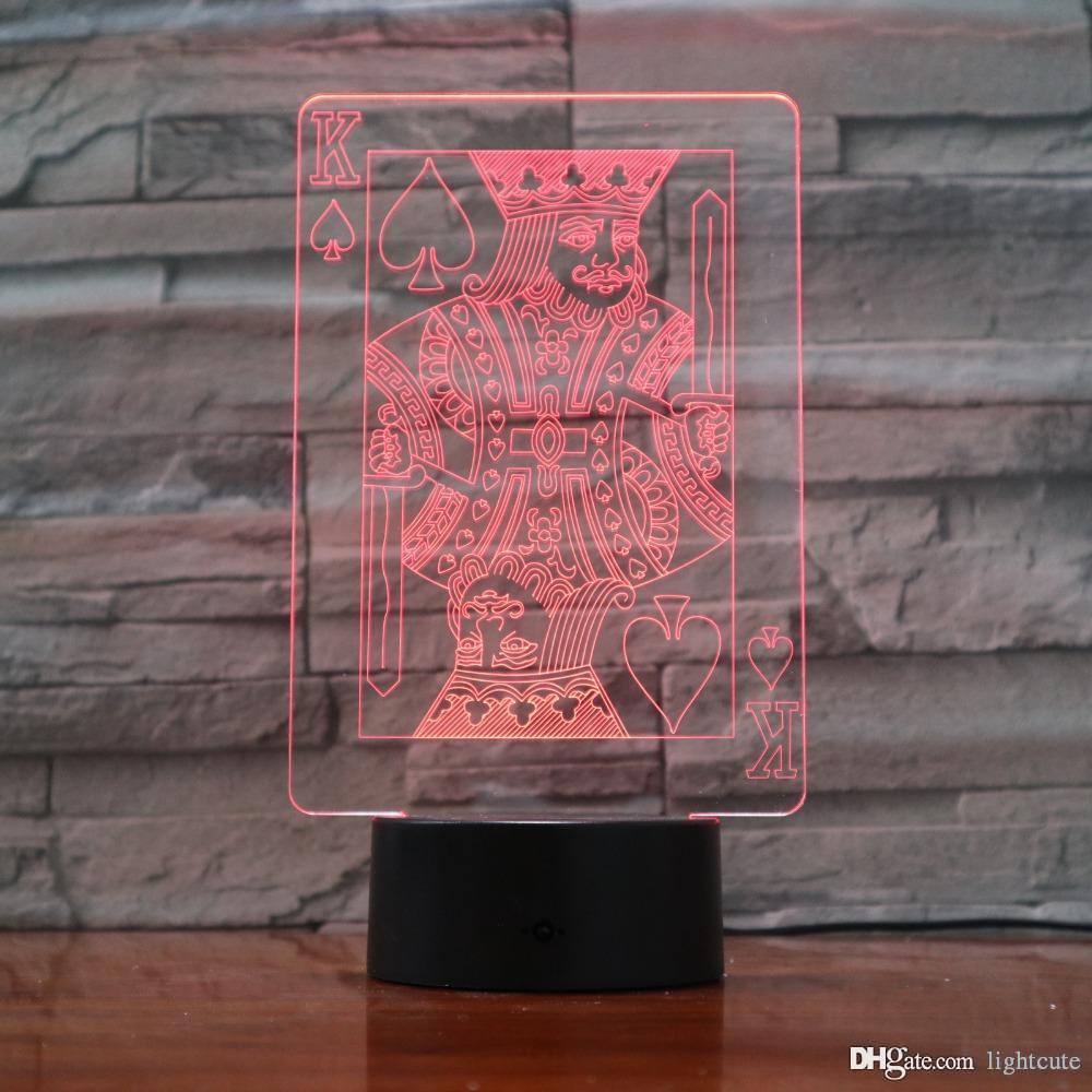 3D LED Home Decor Mood Lamp освещение Сенсорный покер карты Red Hearts K NightLight Красочный Gradient Club Decor Атмосфера Настольная лампа