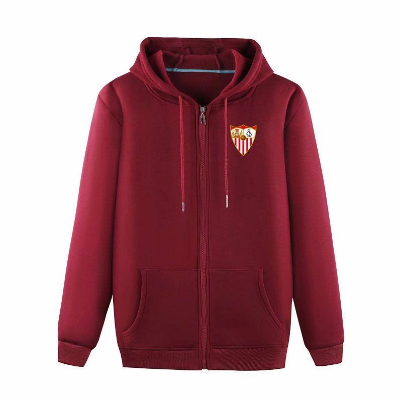 2020 Sevilla FC Boutique Veste Manteau de luxe Sweat à capuche à manches longues automne sport Fermeture à glissière Marque manteau coupe-vent de football