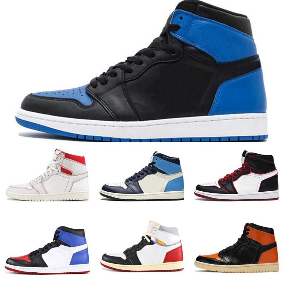 1 zapatos Jumpman Travis Scotts 1S mujeres de los hombres de baloncesto de línea de sangre sin miedo Spiderman Chicago Unc Top 3 para hombre de las zapatillas de deporte entrenadores deportivos Bsb # 962