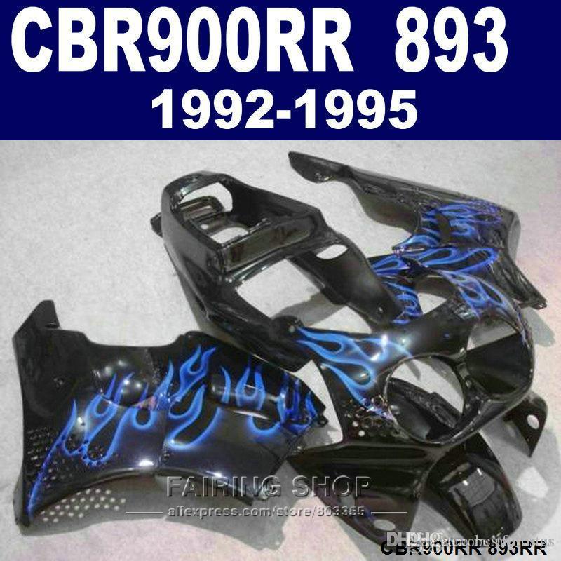 Hochwertiger Verkleidungssatz Honda CBR900RR CBR 893 1992-1995 schwarz blau Flammen Verkleidungssatz CBR 900 RR 09 10 11 XC37