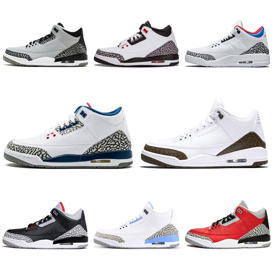 2020 3 Hommes Chaussures de basket-ball 3S Motosports Bleu Rouge Feu Blanc Ciment pur argent Toro Bravo Bred Cavs Autres 89 sport Chaussures de sport Formateurs # 3