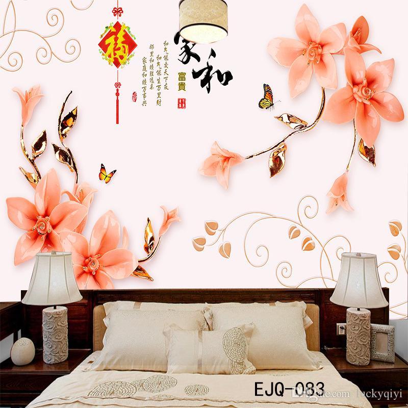 3D üç metrekarelik büyük Çin tarzı ev ve zengin duvar kağıdı oturma odası yatak odası çıkartmalar TV arka plan duvar süsü