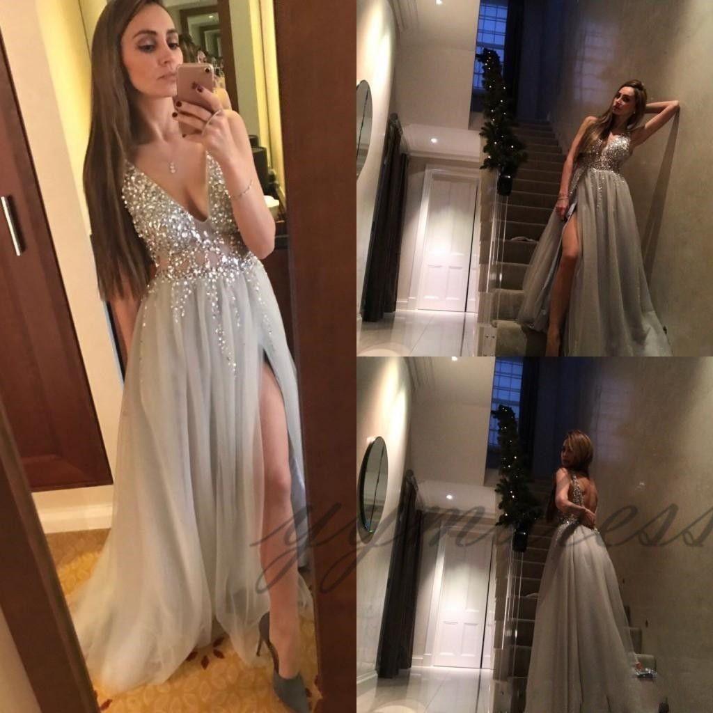 2019 Sexy Paolo Sebastian Grey Prom profunda V Neck Sequins Tulle alta Dividir Vestido Longo Wear