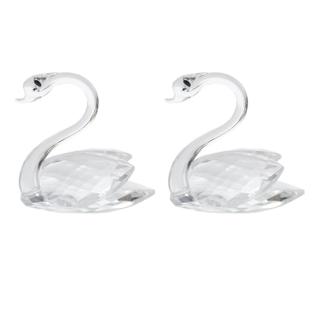 Crystal Art Crafts Swan Statue and Sculptures Decor with Gift Box - 2Pcs