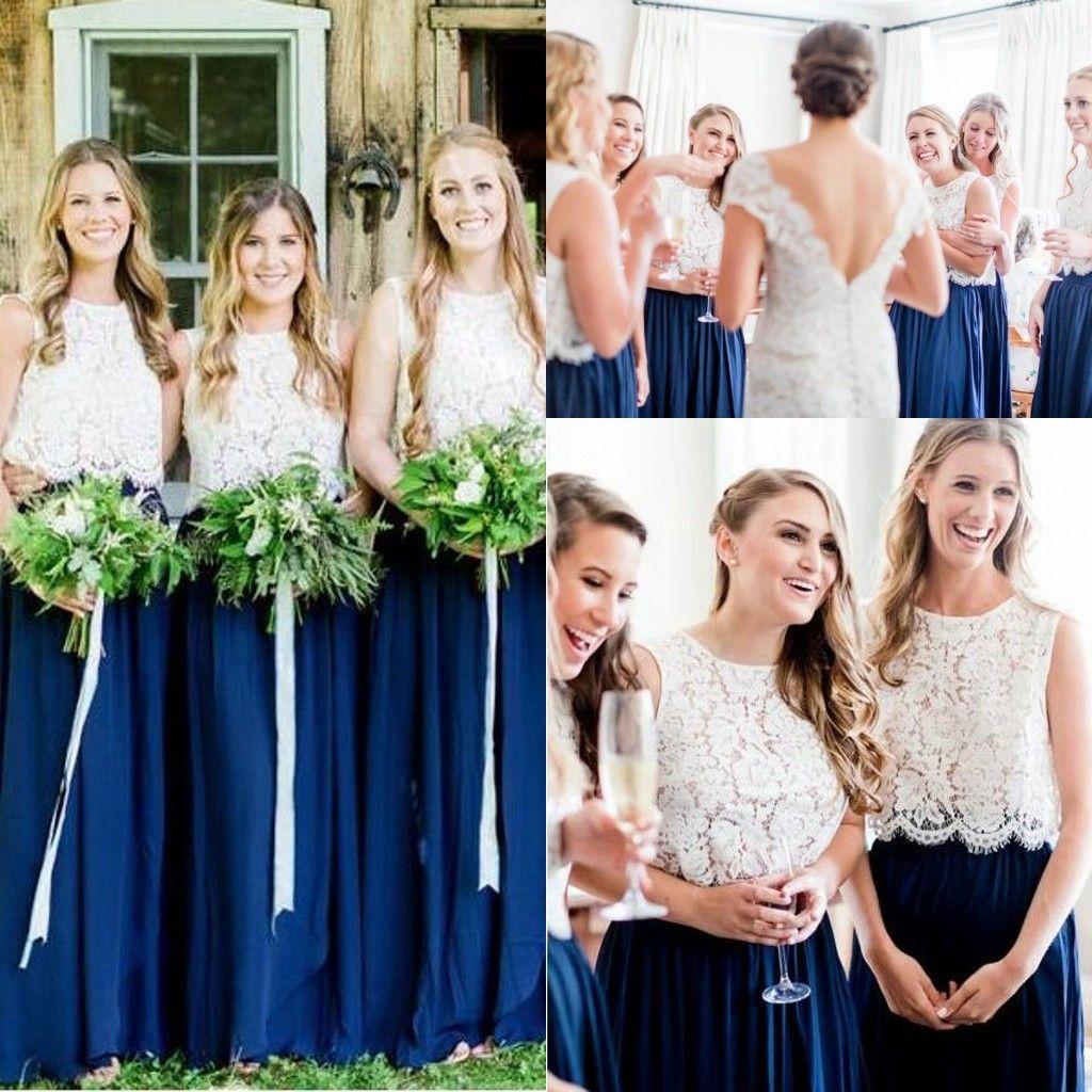 اثنين من قطعة اللباس وصيفه الشرف تنورة زرقاء مع الدانتيل منفصلة أعلى 2020 كامل طول البوهيمي البلد جونيور خادمة الشرف حفل زفاف ثوب