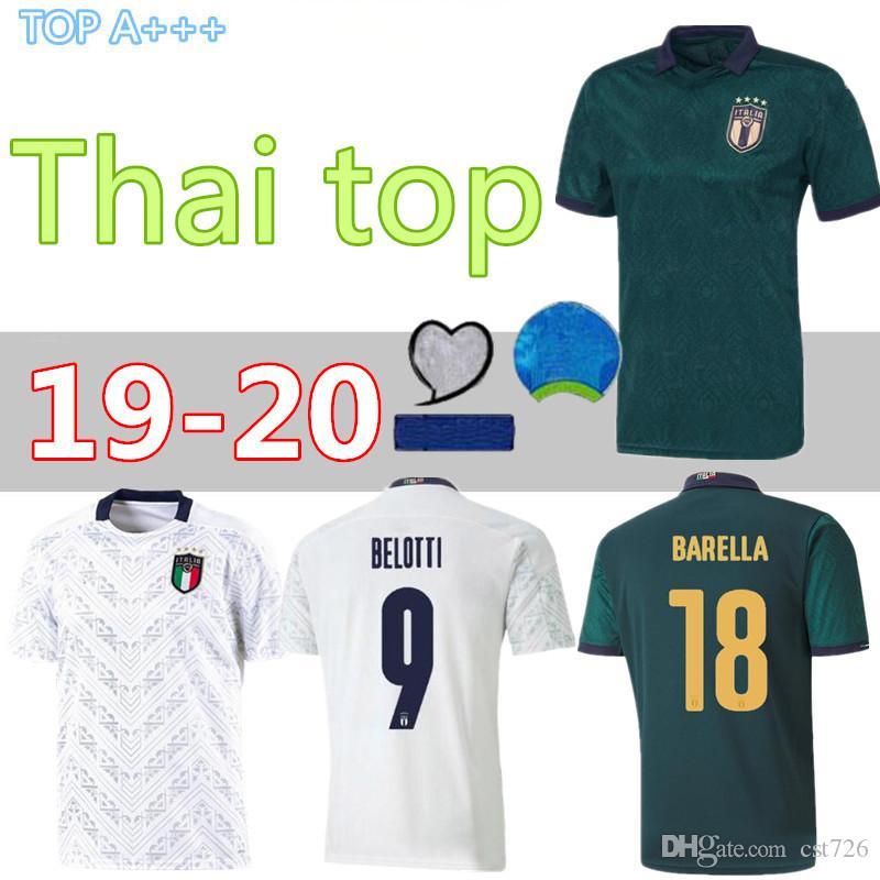 camisas Verratti KEAN JORGINHO BERNARDESCHI Quagliarella Futebol 2019 2020 ITALY BELOTTI Futebol De Rossi casa longe maillots de pé