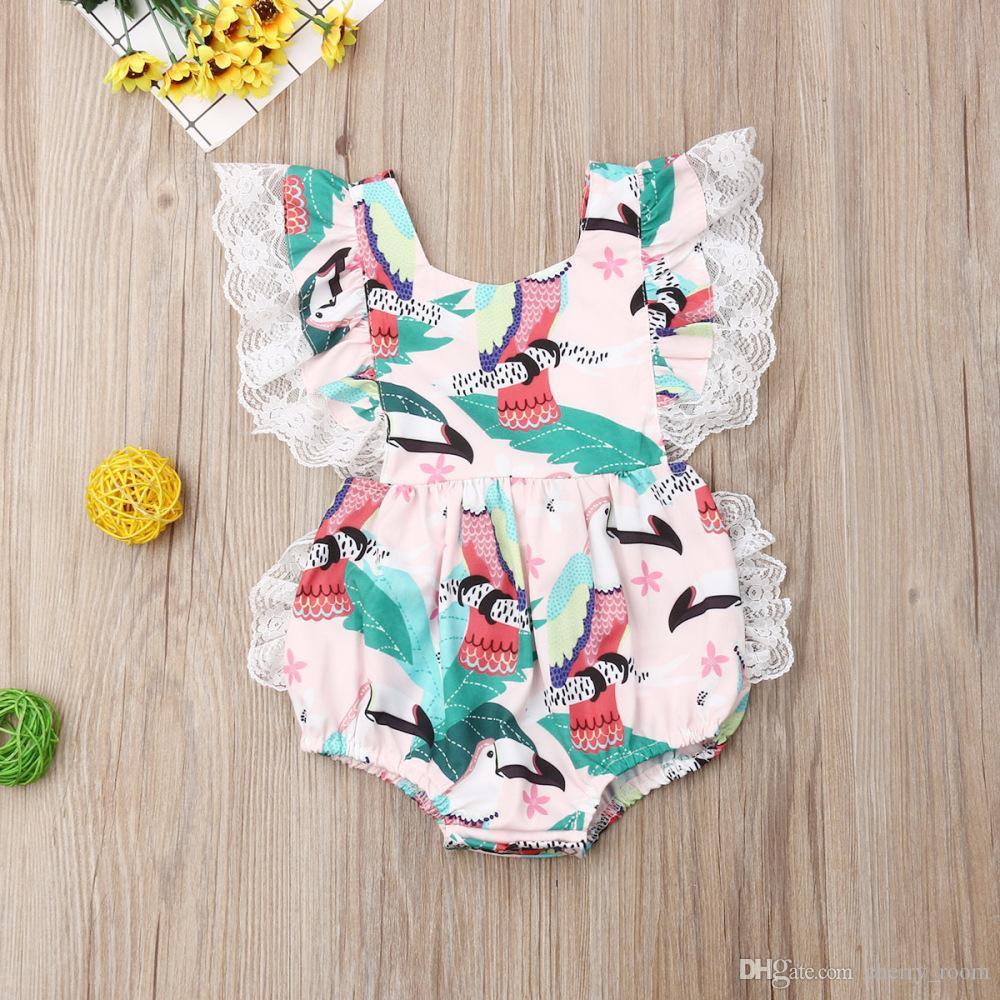 Sevimli Bebek Kızlar Prenses Romper Moda Çiçek Baskılı Dantel Kolsuz Bebek Tulum Bebek Backless Onesie C5715