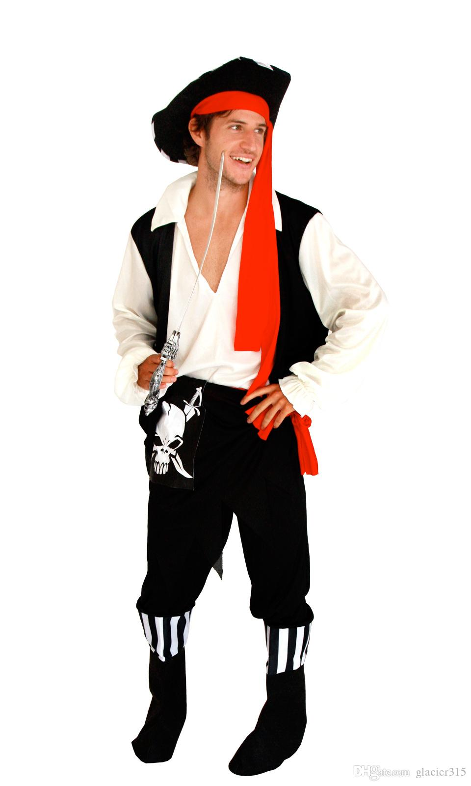 Shanghai Story New Hot Sale Men Caribbean pirate Costume Skeleton Pirate halloween Cosplay adult Cosplay Costume