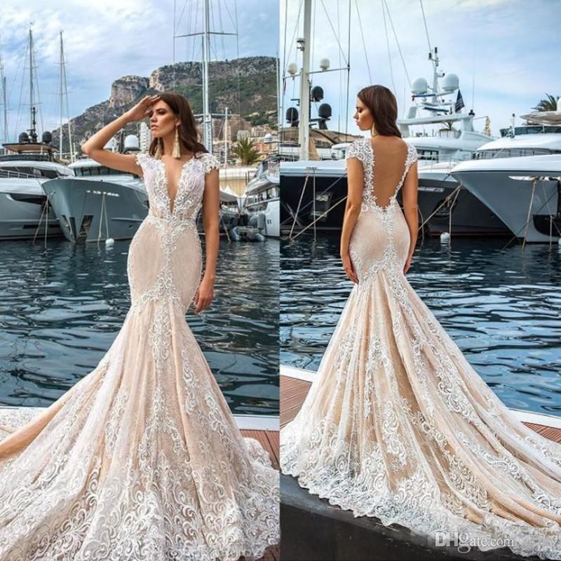 2019 레이스 인어 웨딩 드레스 깊은 V 목 덮인 소매 법원 열차 해변 신부 가운 깎아 지른 뒤로 vestidos de noiva
