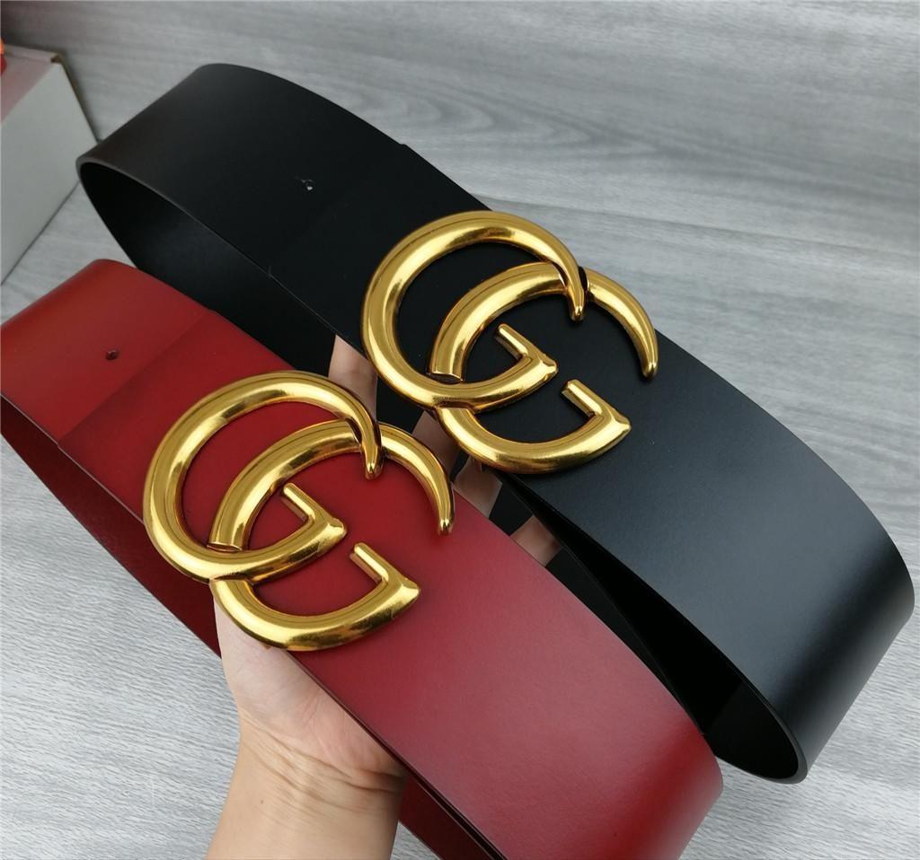 2020 designer women's fashion new 7cm wide belt, black, red body, gold belt buckle hot wholesale,