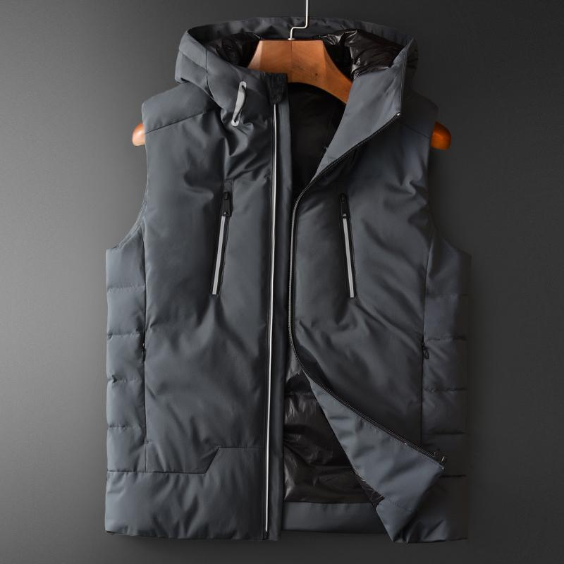 슬림 맞는 남자 코트 4XL Minglu 회색 후드 남성 조끼 럭셔리 추가 패딩 단색 민소매 남성 재킷과 코트 플러스 크기