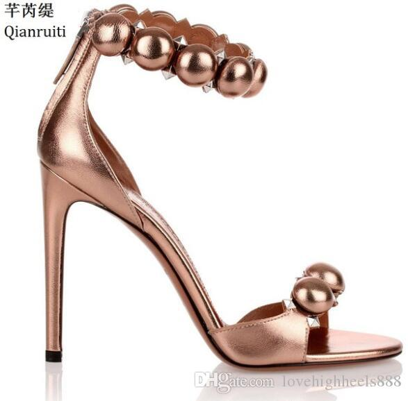 Rose Gold Leder Stiletto Heels Damen Schuhe Open Toe High Heels Damen Sandalen Nieten Niet Knöchel Schnalle Damen Pumps