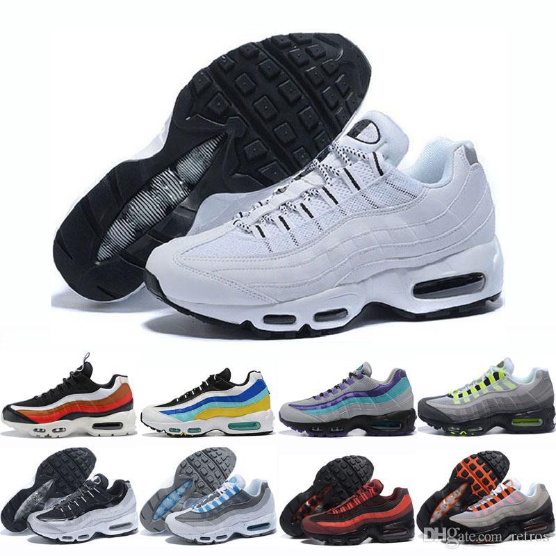 20 moda zapatos corrientes de los hombres las mujeres Cojín zapatillas Botas de neón Authentic de triple negro verde amarillo zapatos que caminan al aire libre Deportes Eur 36-46
