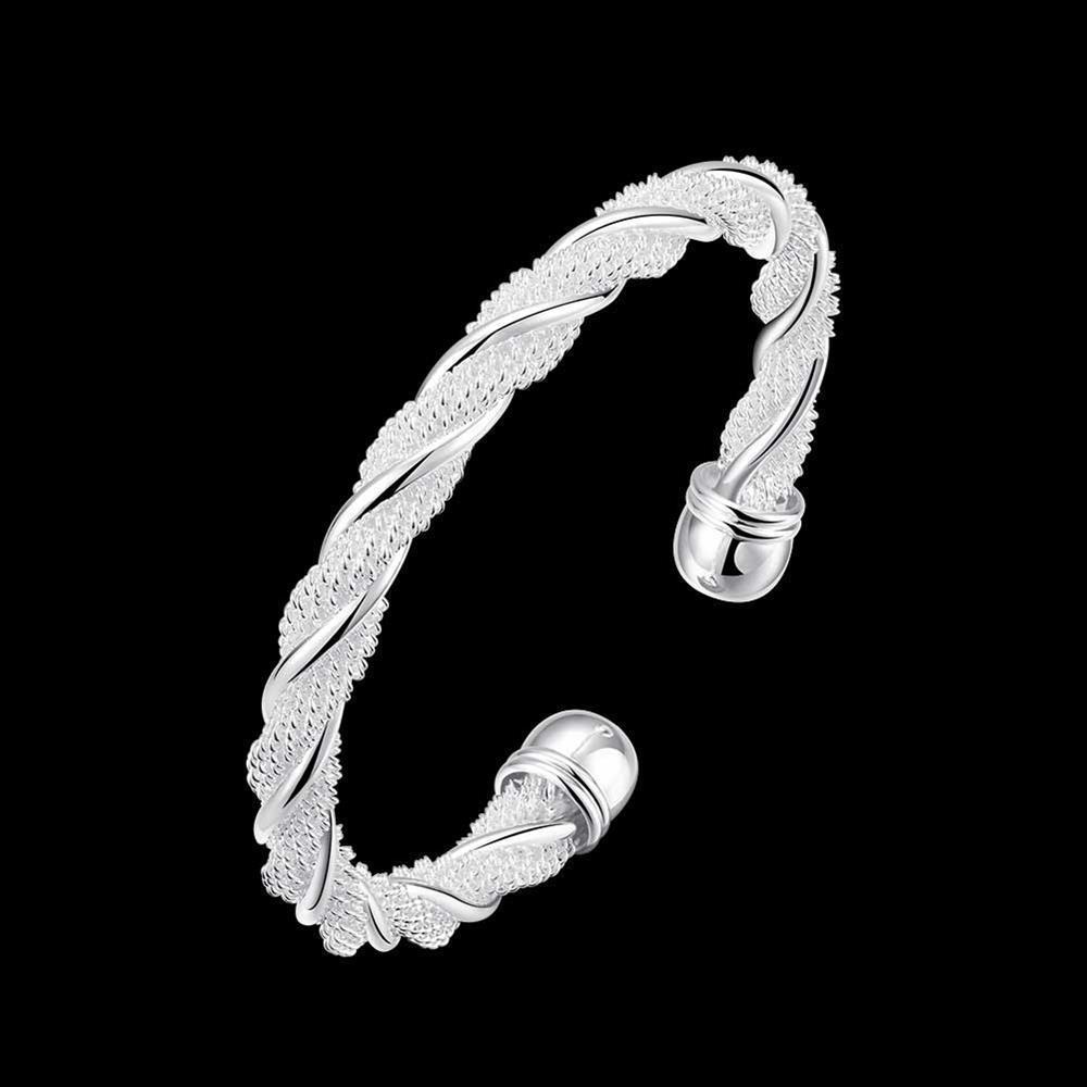 B020 En Gros De Mode Argent plaqué bijoux bracelet bracelet femmes Dame cadeau cercle lourd gros C manchette ouverte corde twist