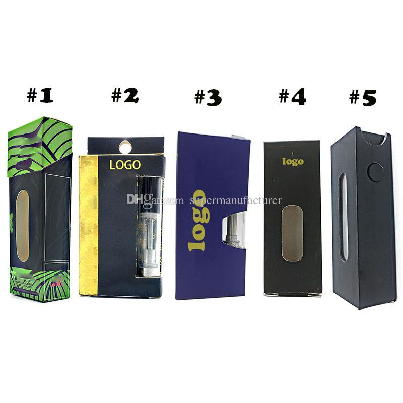Custom Logo Vape Cartridges packaging Box Childproof New carts paper package cosmetic E cigarette Blister packing Tube hologram Stickers