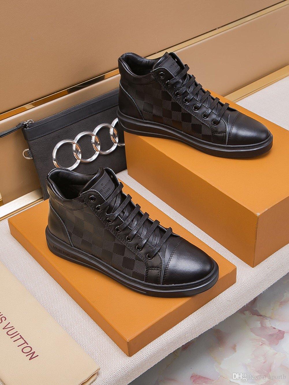 Louis vuitton 2019 A6 Hochwertige Art und Weise flache Freizeitschuhe Herrenschuhe, Luxus-High-Top-Spitze-oben Turnschuhe original Box-Verpackung Zapatos Hombre