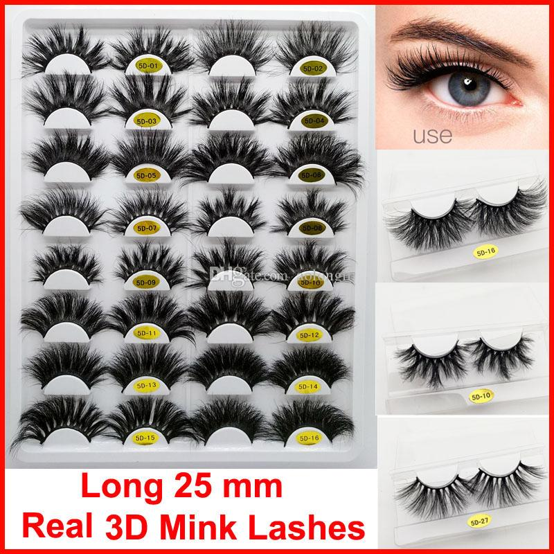 Maquillaje dramático largo 25mm 3D Mink pestañas de visón Real pestaña natural 5D pestañas falsas gruesas pestañas de visón Volum ojo hecho a mano pestaña falsa