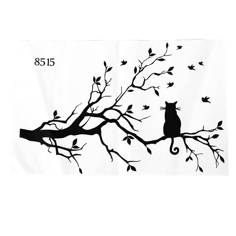 Gran cosa de nuevo diseño Gato En Long Branch árbol de bricolaje etiqueta de la pared Animales Birds Pared Arte de la etiqueta Traslados Etiqueta de la ventana Hom