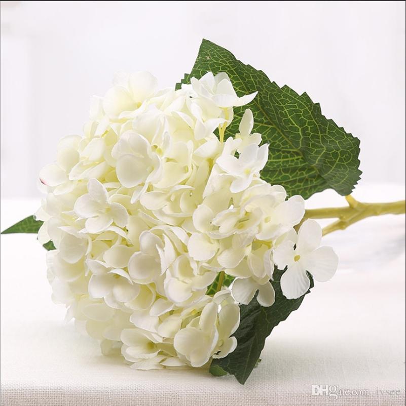 줄기와 결혼 장식 홈 장식 잎 인공 꽃 수국 실크 꽃 화이트 그린, 핑크 감청색에 꽃다발 결혼