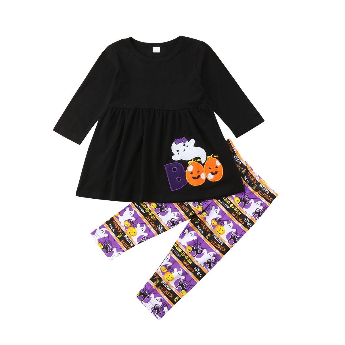 Halloween Kinder Mädchen-Kleidung stellte Langarm Comfort Dress + Pants 2Pcs Cartoon-Druck-Party Kind Mädchenklage