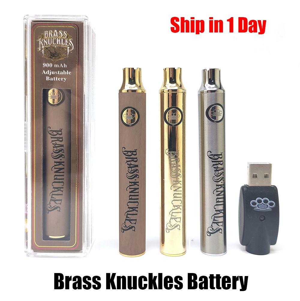 Pirinç Knuckles Pil 650 mAh 900 mAh Altın Ahşap Slivery Preceat Ayarlanabilir Gerilim Vape Pen BK 510 Konu Kartuş