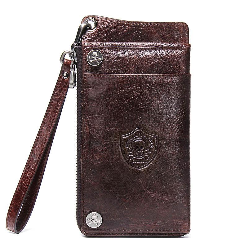 """Männer 6,5 """"Echte lange Kupplung Brieftasche Männliche Brieftaschen Luxus Brieftasche Geldbörse Tasche Marke Zip Münze Geldbörse Mann Handy Leder LSOMF"""