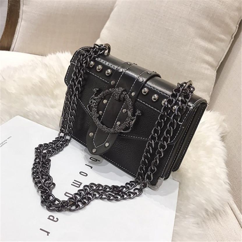 Pequeno cadeia Bag New Retro Rebite Ombro Saco quadrado bolsas Versátil Corpo Cruz PH-CFY20060818